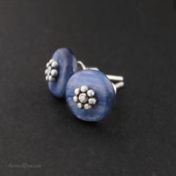 kyanit,kyanity,sztyfty z kyanitem,srebro,mroczek - Kolczyki - Biżuteria