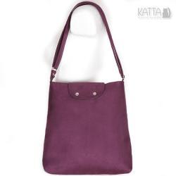 śliwkowa torba,zamszowa torebka,na skos,średnia - Na ramię - Torebki