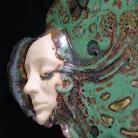 Ceramika i szkło maska,twarz,paw,ceramika,zielenie,dekoracja