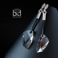 kolczyki z rzemieniem i kryształami Swarovski - Kolczyki - Biżuteria