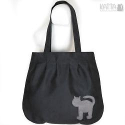 kocia torba,cat bag,kot,czarny zamsz,szary - Na ramię - Torebki