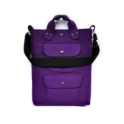 fioletowa torebka,filc,duża,praktyczna,pojemna - Na ramię - Torebki