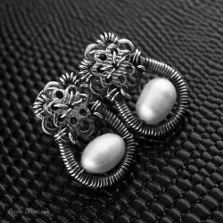 wire-wrapping,perła słodkowodna,srebro,małe - Kolczyki - Biżuteria