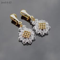 klipsy,pozłacane,plecione,swarovski,eleganckie - Klipsy - Biżuteria