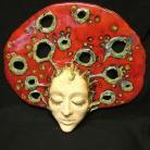 Ceramika i szkło maska,ceramika,czerwień,dekoracja