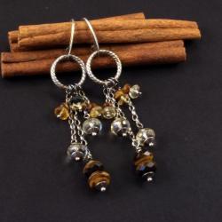 Wiszące kolczyki z cytrynem i tygrysim okiem - Kolczyki - Biżuteria