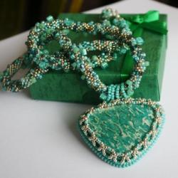 haft koralikowy,amazonit,Toho,wyjątkowy pezent - Naszyjniki - Biżuteria