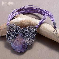 ametyst,pleciony,oksydowany,ażur,sznurek, - Naszyjniki - Biżuteria
