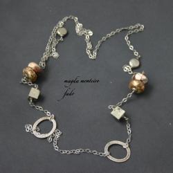 srebro,kolczyki,piryt,złote,oksydowane,fado - Naszyjniki - Biżuteria