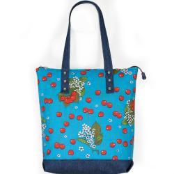 czereśniowy wzór,torba z owocami,czereśnie,na lato - Na ramię - Torebki