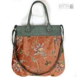 unikatowa torba,w kwiaty,zielony zamsz - Na ramię - Torebki