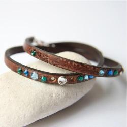 skórzana bransoletka,kryształki,morskie kolory - Bransoletki - Biżuteria
