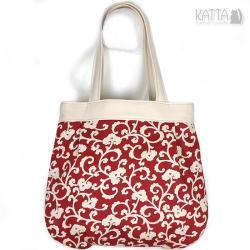 jasna,na lato,cotton bag,bordowy wzór - Na ramię - Torebki