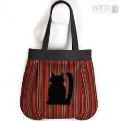 kocia torba,z kotem,kolorowe prążki,czarny kot - Na ramię - Torebki