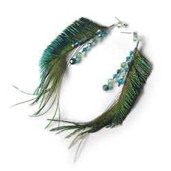 pawie pióra,kolczyki z piórami i kryształami - Kolczyki - Biżuteria