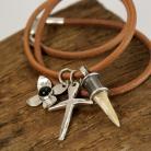 Dla mężczyzn męska biżuteria,naszyjnik,rzemień,srebro