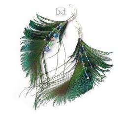 kolczyki z pawimi piórami - Kolczyki - Biżuteria