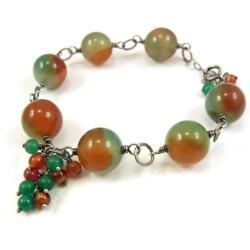 bransoletka,agat,srebro,ruda,zielona,jesienna - Bransoletki - Biżuteria