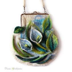 torebka,listonoszka,kwiatowa,kalie,turkusowa, - Na ramię - Torebki