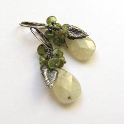 gruszki,krople,krótkie,gronka,wiosenne,liście - Kolczyki - Biżuteria