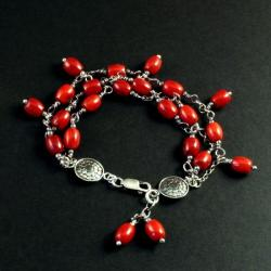 bransoletka ze srebra i korala - Bransoletki - Biżuteria