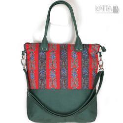 folkowa torba,kolorowa,zielony zamsz,czerwone pasy - Na ramię - Torebki