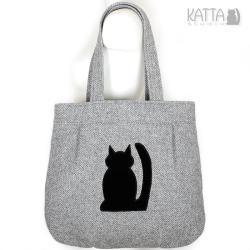 kocia torba,czarny kot,szara wełna,jodełka - Na ramię - Torebki