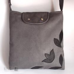 szara torba,zamszowa,skórzane kwiaty - Na ramię - Torebki