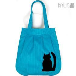 kocia torba,błękitna,niebieski sztruks,wesoła, - Na ramię - Torebki