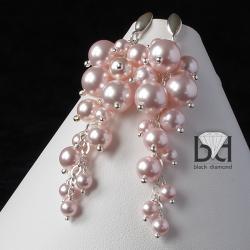 kolczyki z motywem gronek z perłami swarovski - Kolczyki - Biżuteria