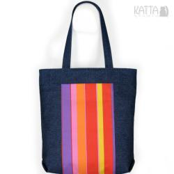 dżinsowa torba,kolorowe paski,granatowa,uniwersaln - Na ramię - Torebki