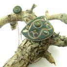 Broszki haft koralikowy,bead embroidery,haft złota nicią