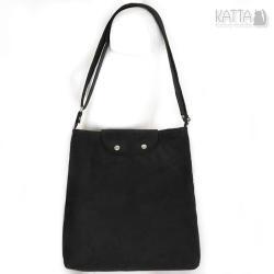 black bag,czarna torebka,średniej wielkości,zamsz - Na ramię - Torebki