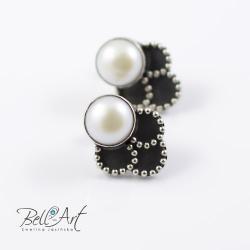 kolczyki z perłą,sztyfty z perłą, - Kolczyki - Biżuteria