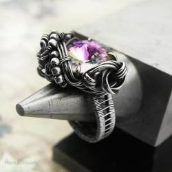 swarovski,fiolet,wire-wrapping,srebro,pierścień - Pierścionki - Biżuteria