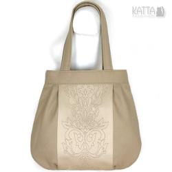 piaskowa,wełna,ornament,beżowa,wzór,jasna torba - Na ramię - Torebki