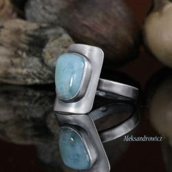 pierścionek z larimarem,srebro - Pierścionki - Biżuteria