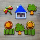 Ceramika i szkło owocowe,domek,słoneczniki