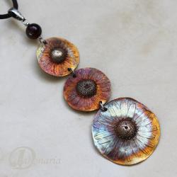 kwiaty,rumianek,romantyczny,brąz,tęczowy - Wisiory - Biżuteria