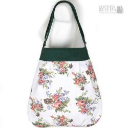 w kwiaty,zielona torba,na lato,płótno,na skos - Na ramię - Torebki