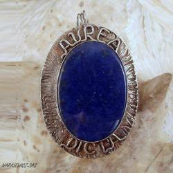 srebrny wisior z lapis lazuli,złote słowa - Wisiory - Biżuteria