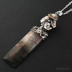 agat,naszyjnik z perłami,keishi,perły hodowlane, - Wisiory - Biżuteria