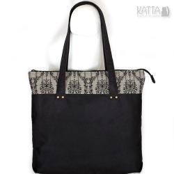 czarna torba,z ekozamszu,wegańska torba,gothic - Na ramię - Torebki