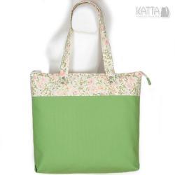 kwiaty,zielona torba,trawiasty,zielone jabłuszko - Na ramię - Torebki