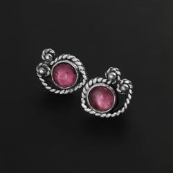 turmalin,rozowy turmalin,srebro,drobinki,sztyft - Kolczyki - Biżuteria
