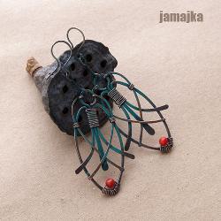 miedź,miedziane,kute,oksyda,patynowane,koralowiec - Kolczyki - Biżuteria