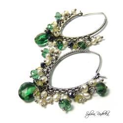 Kolczyki z Kwarcem Dark Green i Yellow - Kolczyki - Biżuteria
