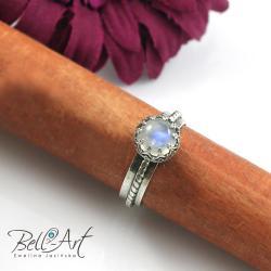 kamień księżycowy,elegancki,srebrny - Pierścionki - Biżuteria