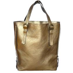 torba,złota,skóra,naturalna,elegancka,laptop - Na ramię - Torebki
