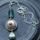 Naszyjniki srebro,alpaka,szkło afgańskie